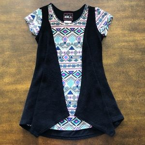 RMLA Aztec Print Top with Attached Open Cardigan!